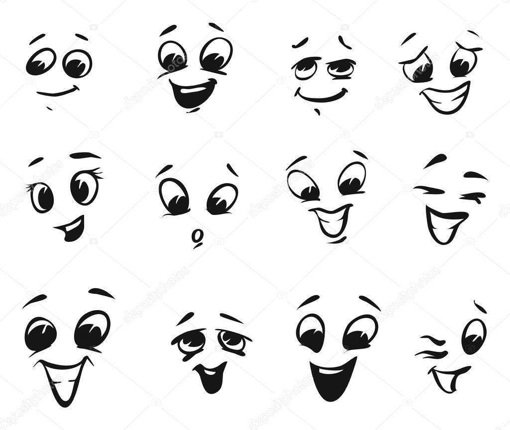 Gelukkig Glimlachen En Lachen Cartoon Gezichten