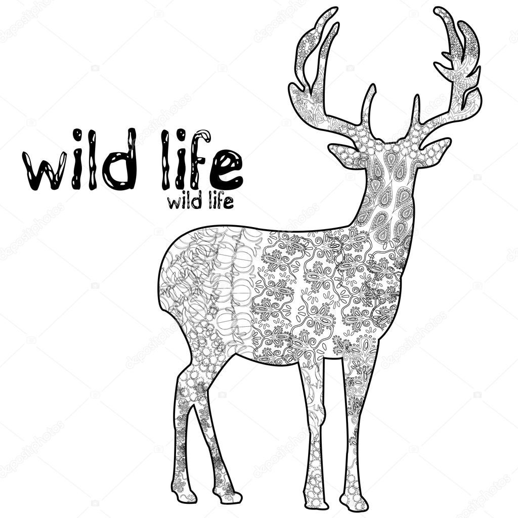 Ciervos De La Vida Silvestres Vector Mandala Ilustracion