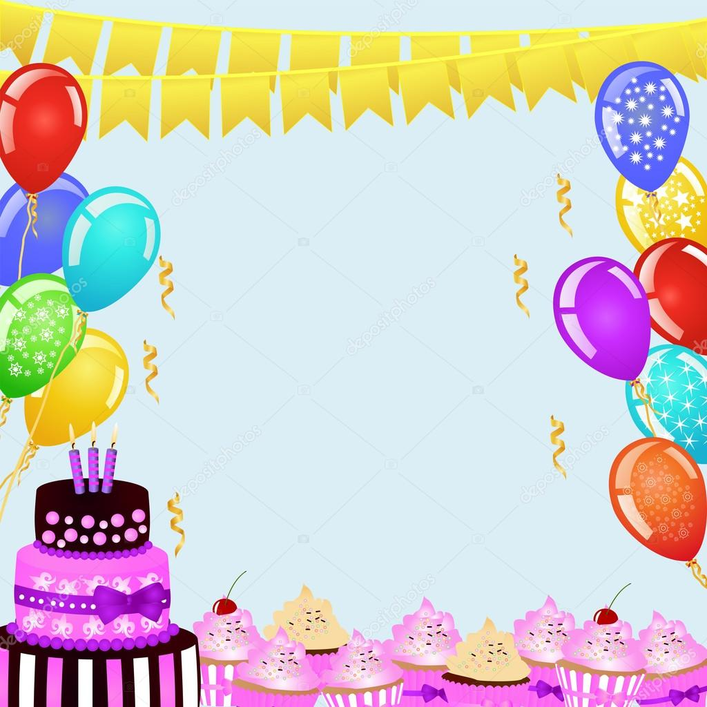 Birthday Party Background With Bunting Flags Balloons Birthday Cake And Cupcakes Vector Image By C Funkyplayer Vector Stock 107051070