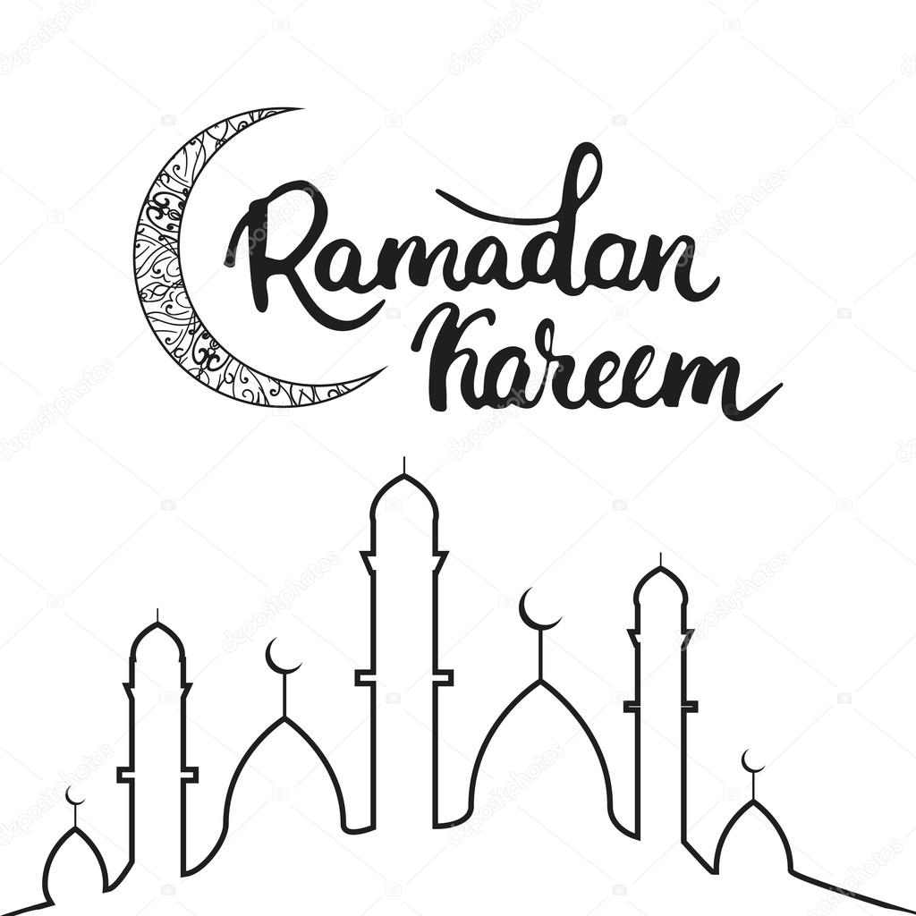 Ramadan Kareem Greeting Card Background With Moon