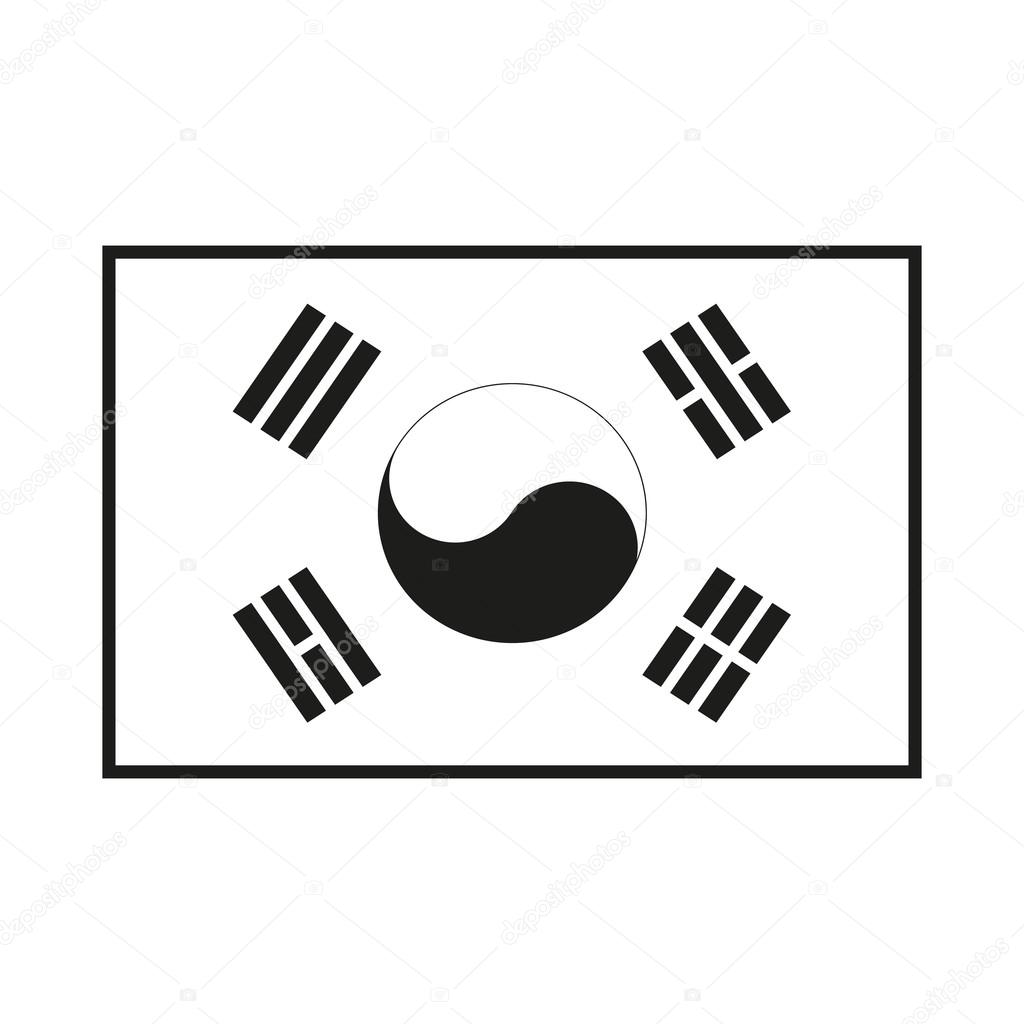 Standard Proportions For South Korea Flag Monochrome On