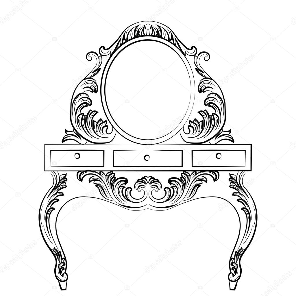 Vector Baroque Furniture Dressing Table And Round Mirror