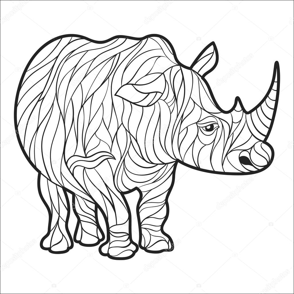 Vector Monochrome Hand Drawn Illustration Of Rhino Coloring Page With High Details Isolated On White Background Boho Style Design For T Shirt Greeting Card Or Poster Premium Vector In Adobe Illustrator Ai