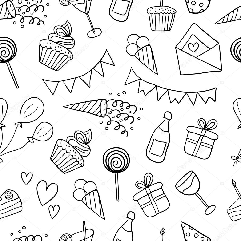 Seamless Pattern With Balloons Cakes Ts Cupcakes