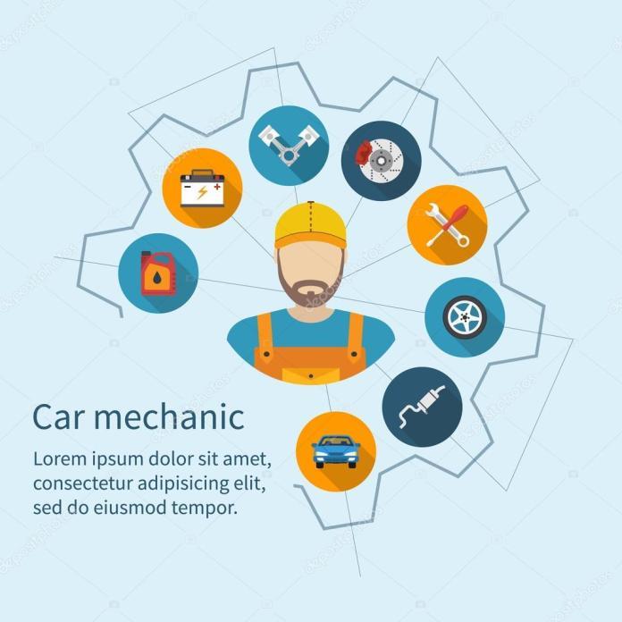 car mechanic car service concept — stockvektor © threecvet.gmail