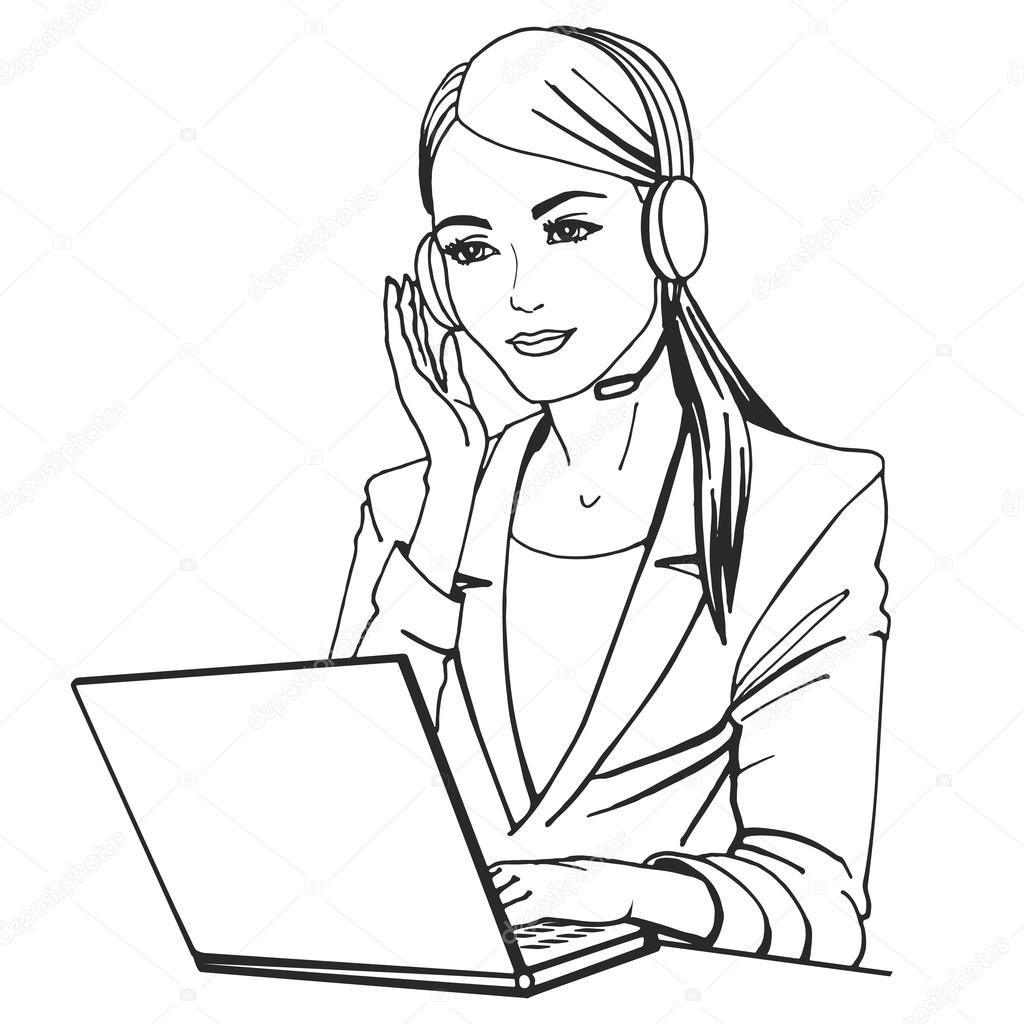 Vectorillustratie Van Een Secretaresse Met Koptelefoon