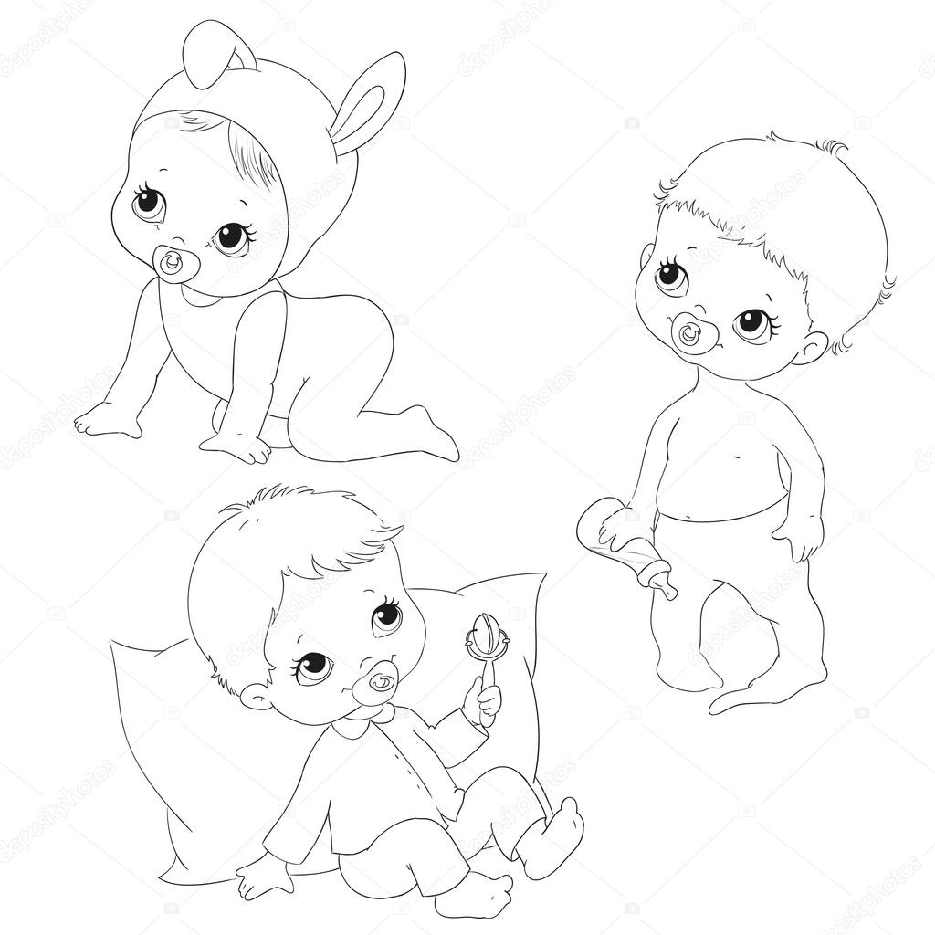 Set For Kids Coloring Books Baby Crawling Sitting