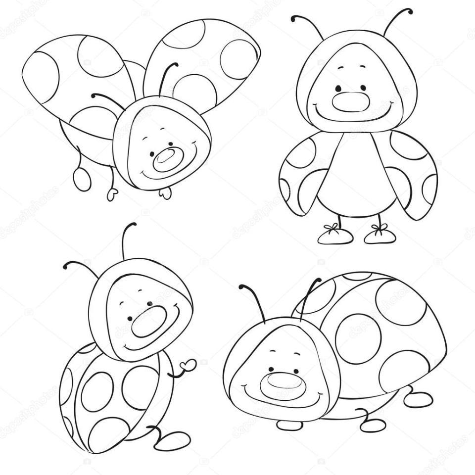 漫画の塗り絵のてんとう虫。面白い昆虫。ベクトル — ストックベクター