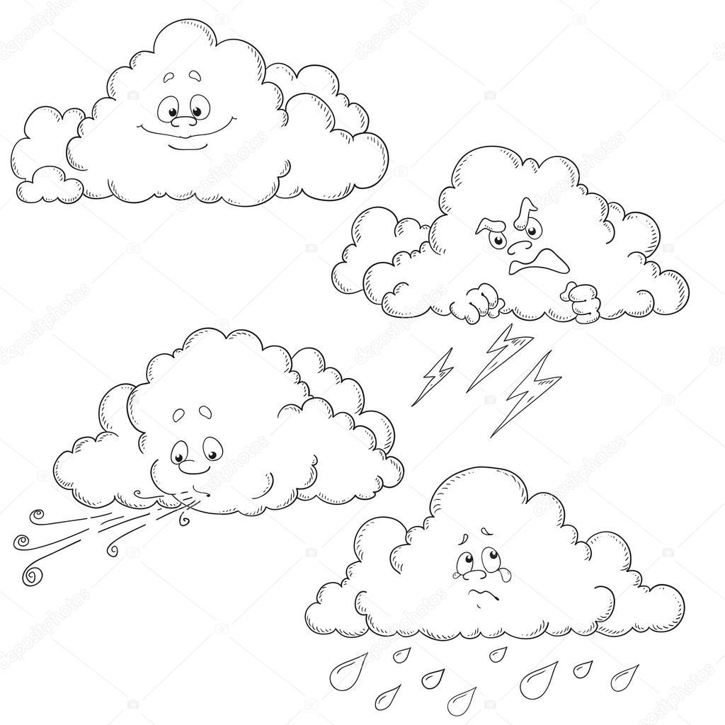 Set Cartoon Wolken Vector Tekens Kleurboek