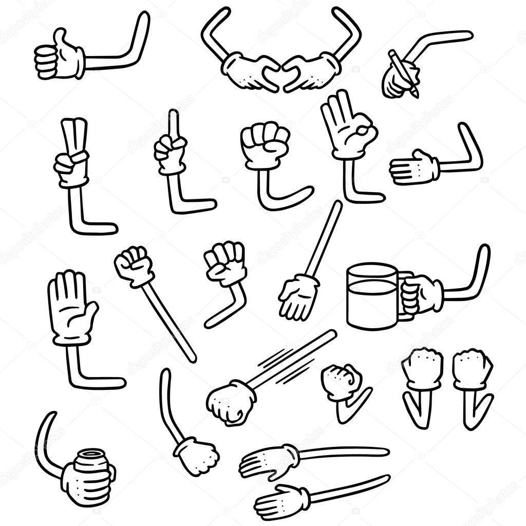 Vector Conjunto De Brazo De Dibujos Animados