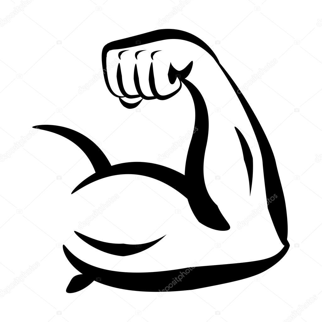 Bodybuilder Big Biceps Vector Logo
