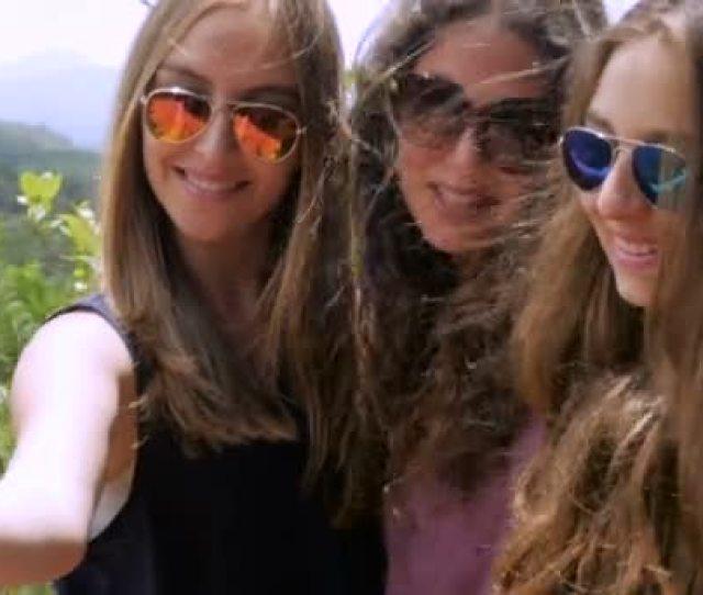 Teen Girls With Beautiful Long Hair Take Selfies In Slowmo Stock Footage