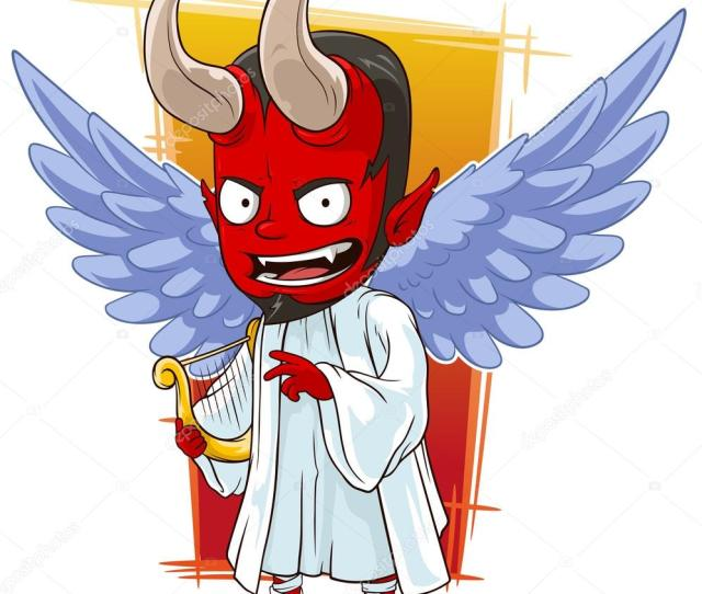 A Vector Illustration Of Cartoon Red Evil Angel Of Hell Vector By Gb_art