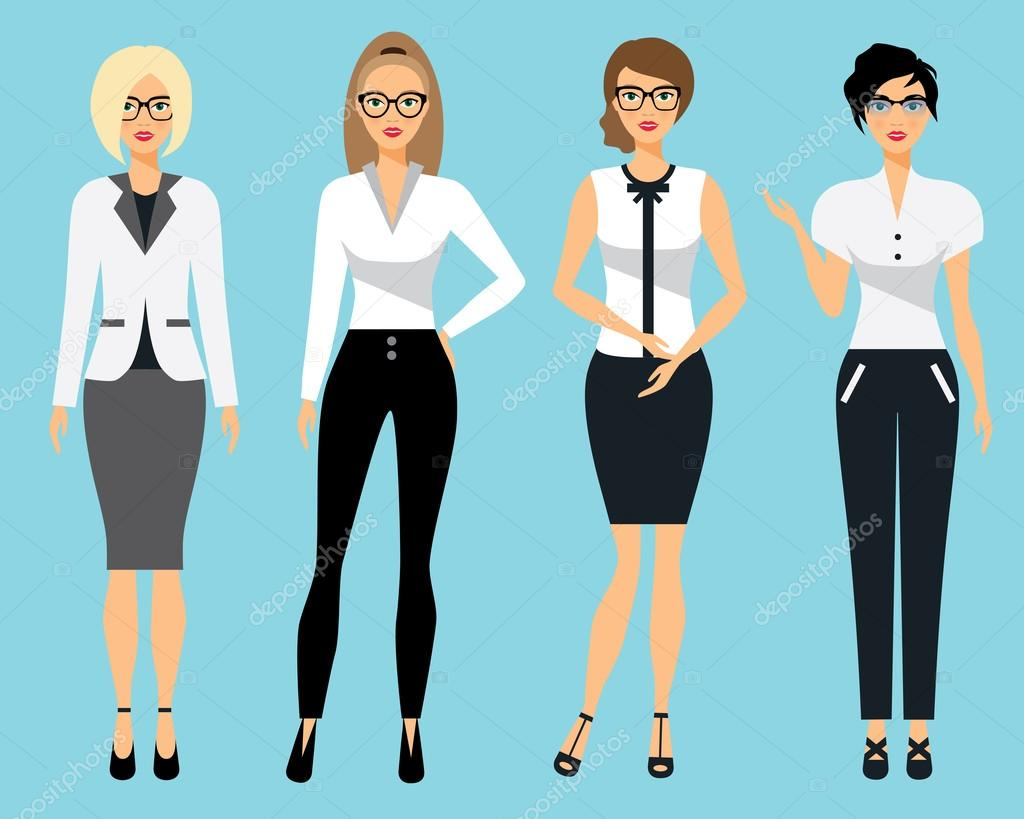 ensemble de vetements pour femmes femme au bureau illustration vectorielle plane illustration de stock