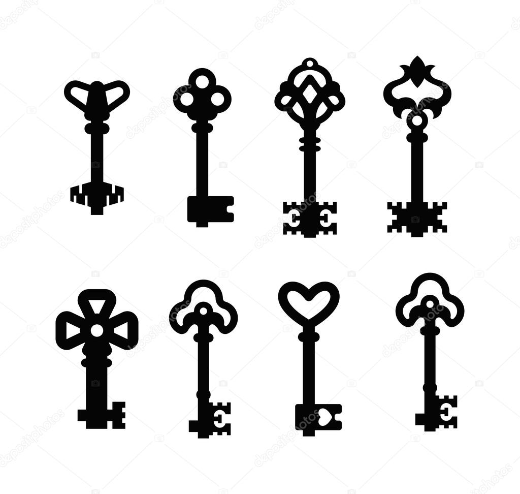 Vintage Key Vector Isolated Icon