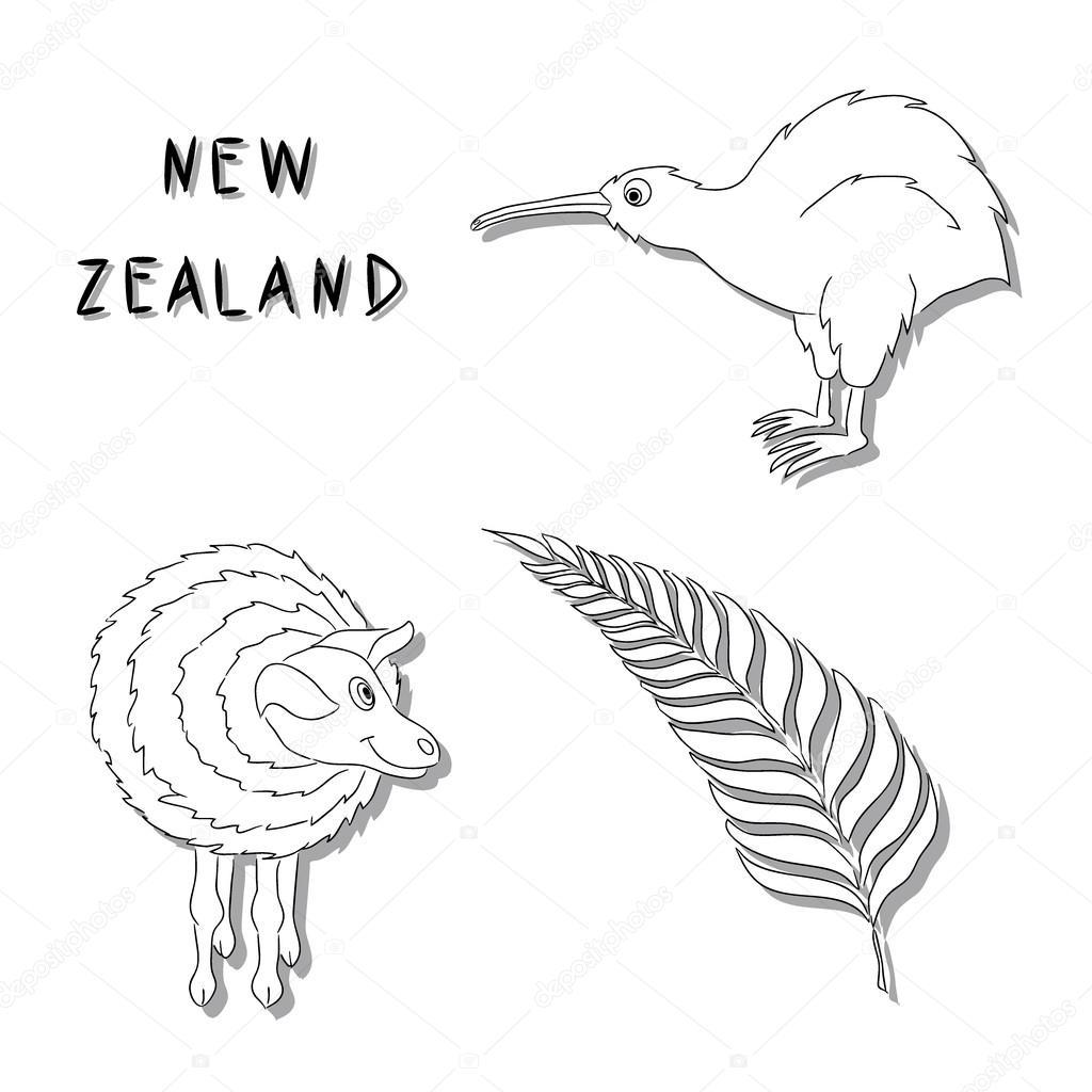 New Zealand Symbols A Set Of Black Line Cartoon Icons