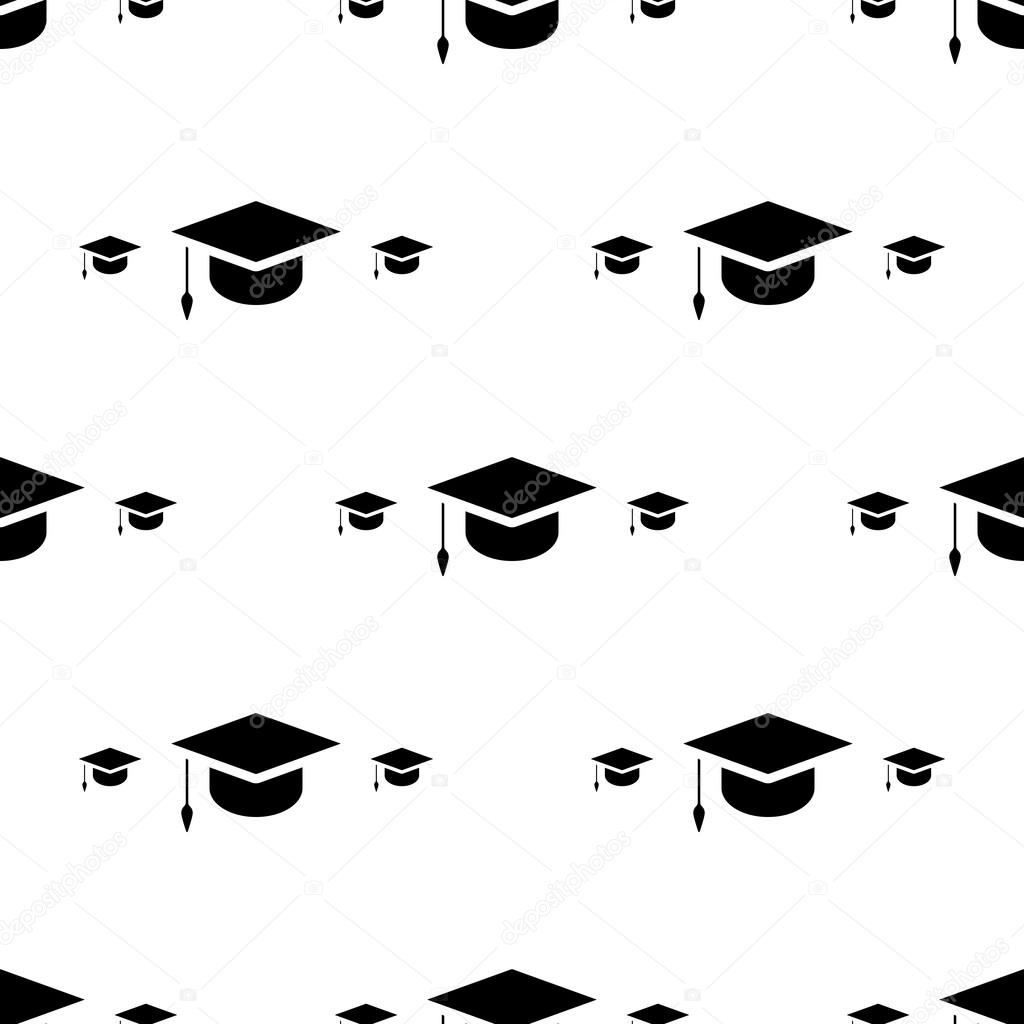 Student Cap Graduation Hat Icon Seamless Pattern