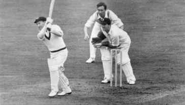 Lindsay Hassett batting at The Oval. Denis Compton is fielding at first slip and Godfrey Evans is the wicketkeeper Getty Images