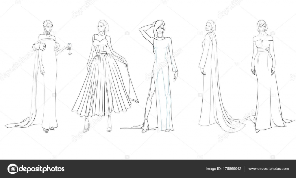 A set of fashion sketches  Autumn winter 2018  Fashion girls on     A set of fashion sketches  Autumn winter 2018  Fashion girls on a white  background in beautiful evening dresses      Vector by Ice Storm