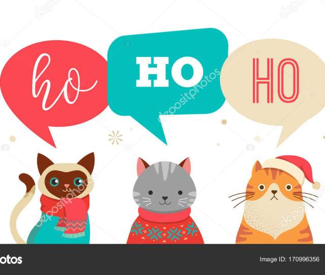 Collection Of Christmas Cats Merry Christmas Illustrations Of Cute Cats With Accessories Like A Knited Hats Sweaters Scarfs Vector By Marish
