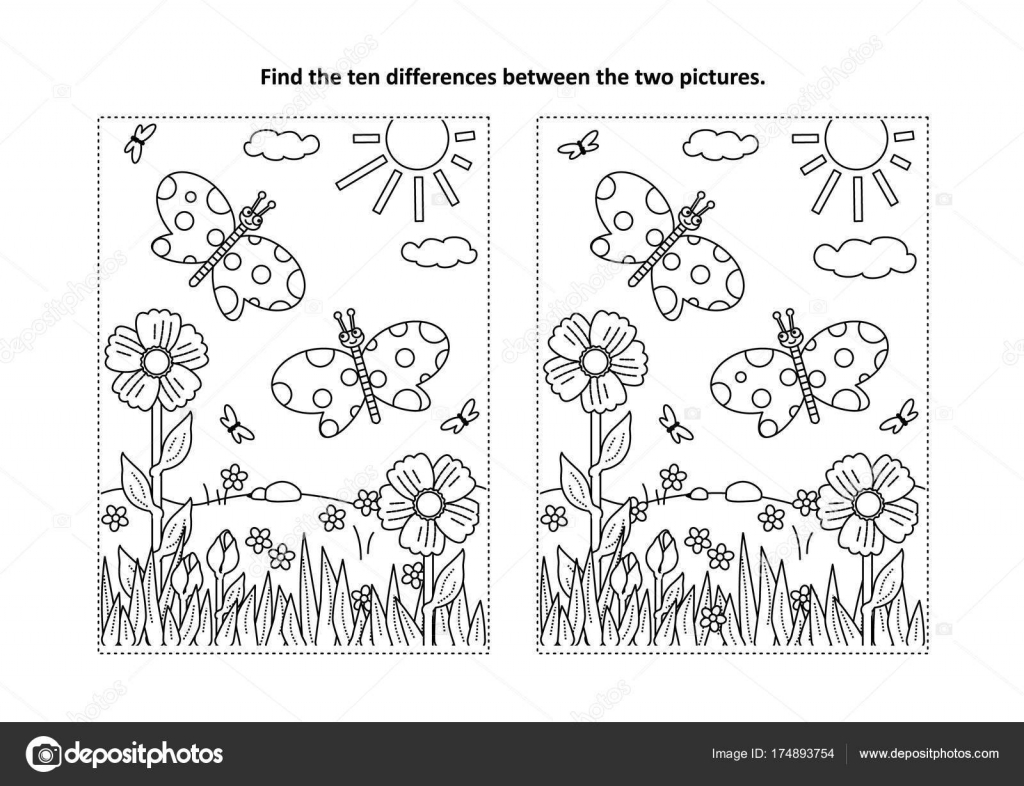 Spring Summer Joy Themed Find Ten Differences Picture