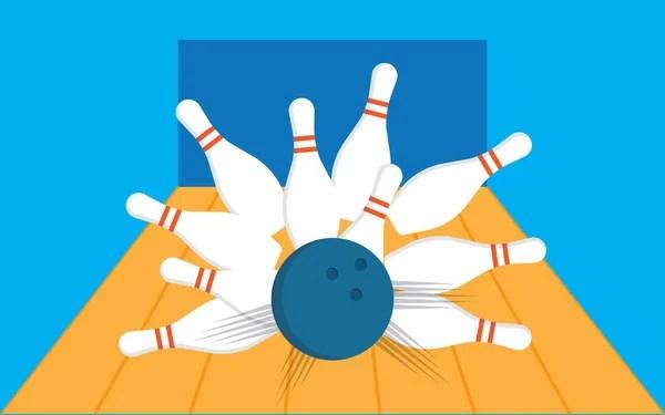 Schwarze Und Weie Bowlingkugel Mit Pins Stockvektor