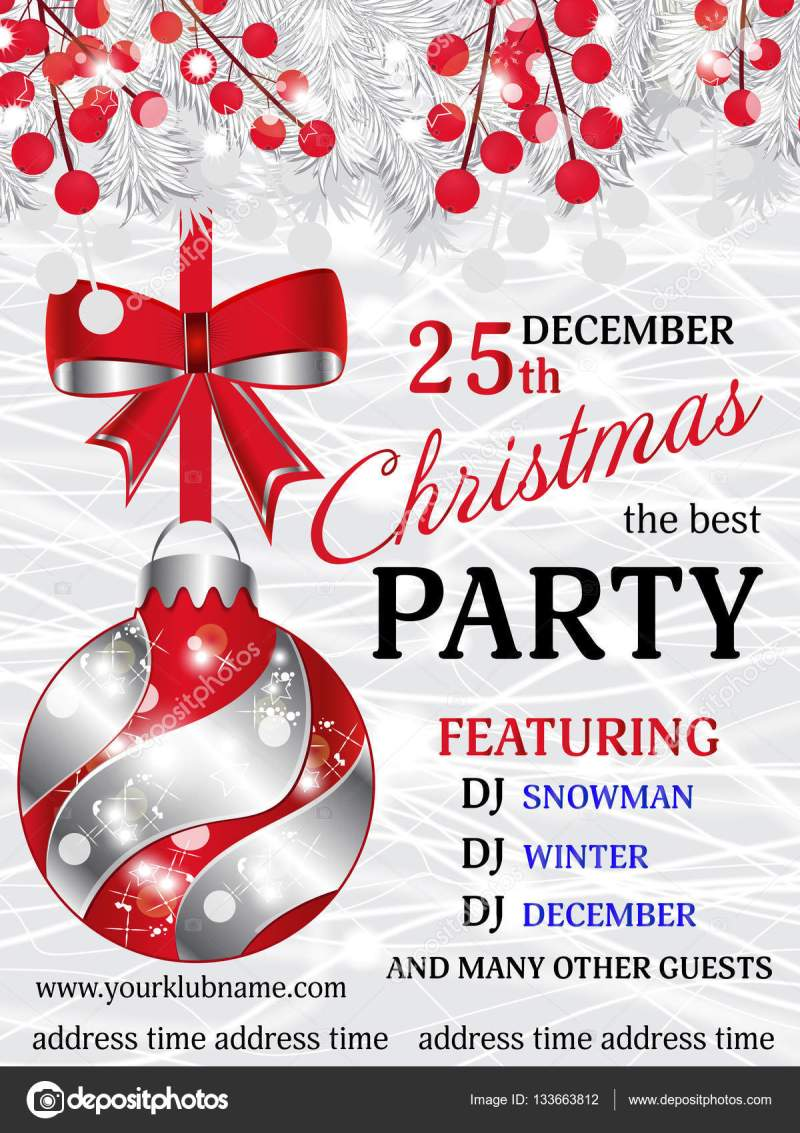 Christmas Party Invitation Background Template