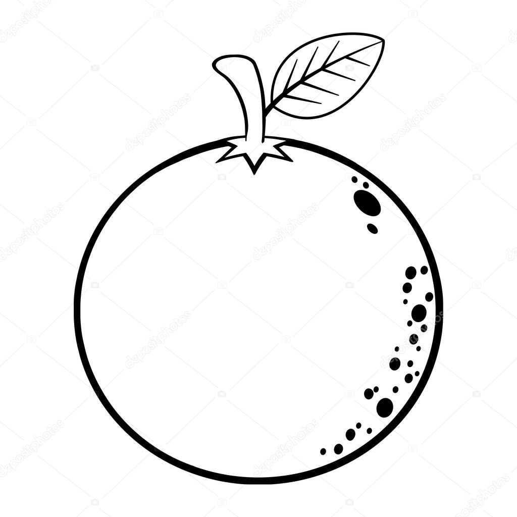 Orange Frukt Kontur Ikonen