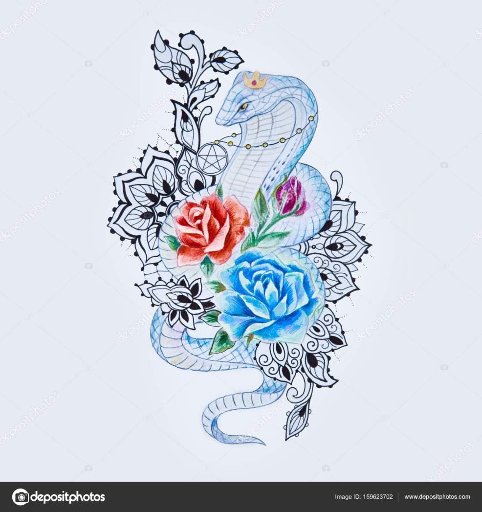 эскизы змей эскиз змея кобра с разноцветными цветами на белом фоне
