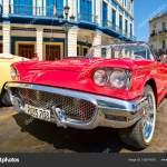 Vintage Red Ford Thunderbird Convertible Car Parked In Old Havana Stock Editorial Photo C Kmiragaya 155214270
