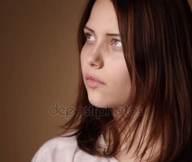 Surprised Teen Girl Looking To A Camera And Making Faces Stock Footage
