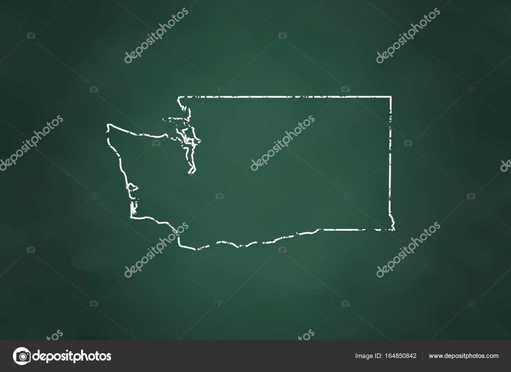 Washington State Map Border Chalk Style     Stock Vector      deskcube     Washington State Map Border Chalk Style     Stock Vector