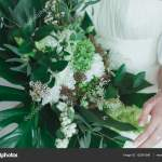 Wedding Bridal Bouquet With Big Tropical Green Leaves And White Flowers Stock Photo C Oksana Bondar 132581596