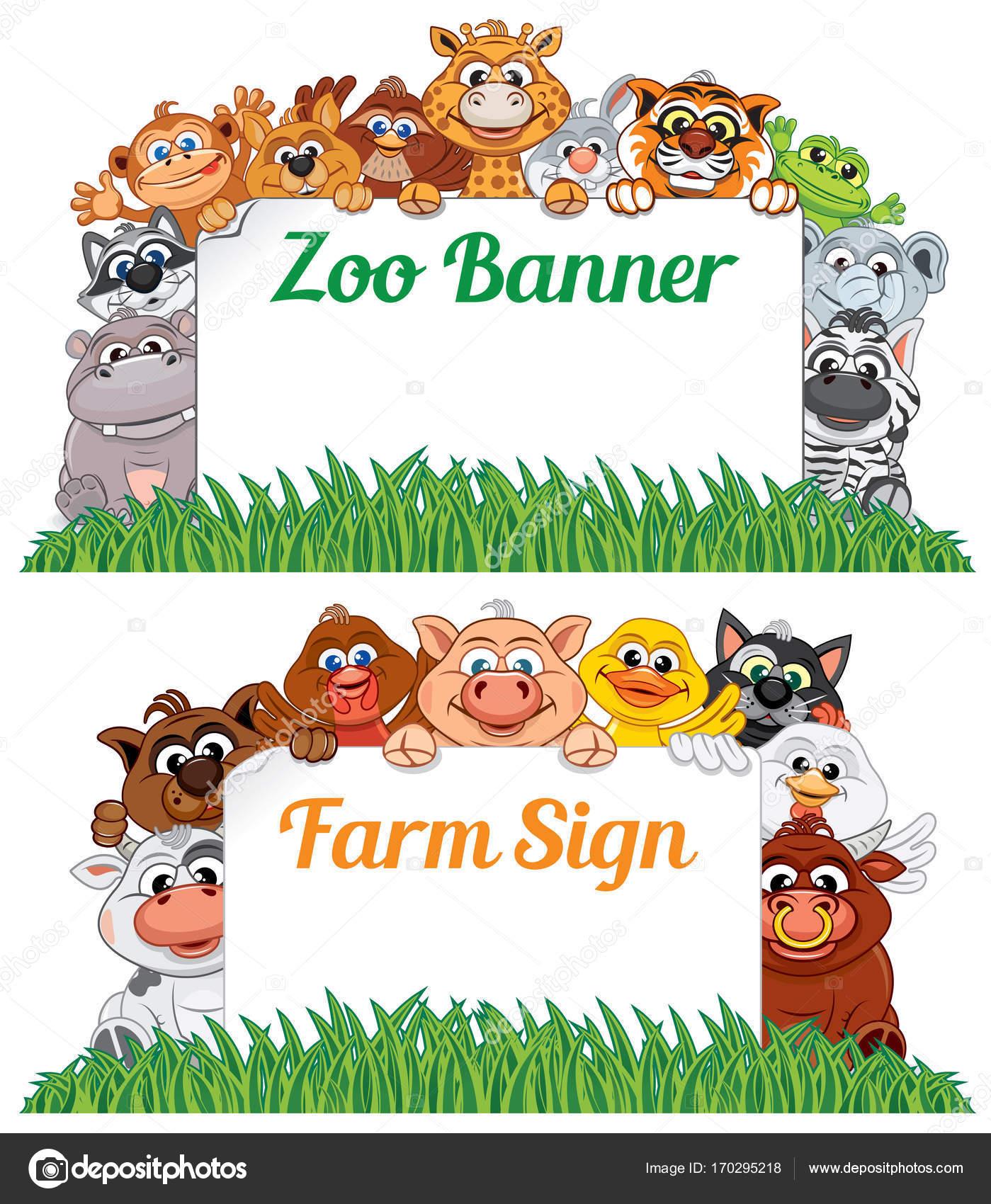 Bauernhof Und Zoo Tiere Mit Schild Und Banner Vektor