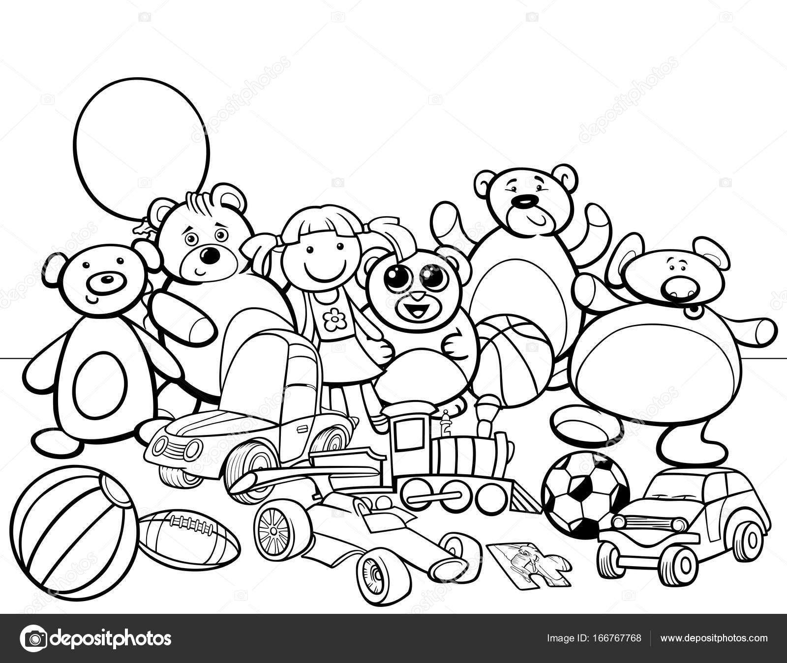 Grupo De Juguetes De Dibujos Animados Para Colorear Libro