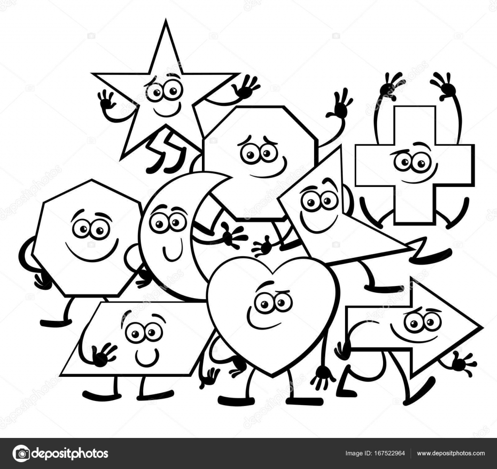 Cartoon Geometric Shapes Coloring Page Stock Vector © Izakowski