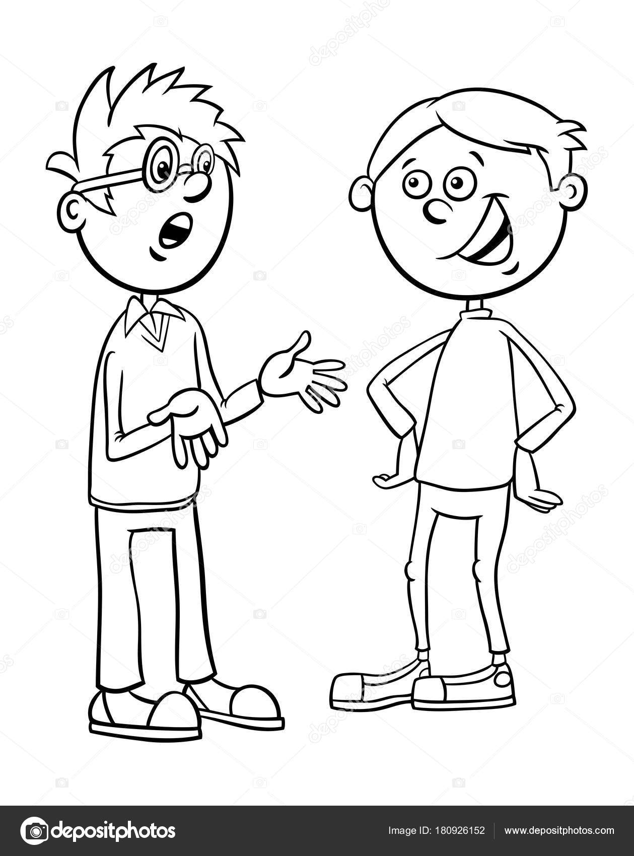 Cartoon People Talking Coloring Page Free Coloring Pages Download ...