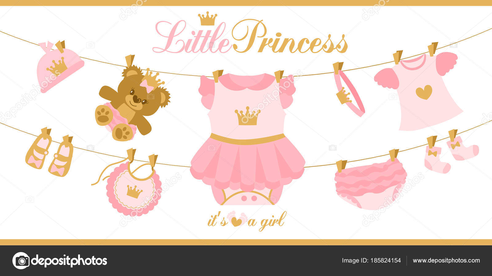 little princess clothes hanging line illustration baby shower invitation card vector image by c alenaspl vector stock 185824154