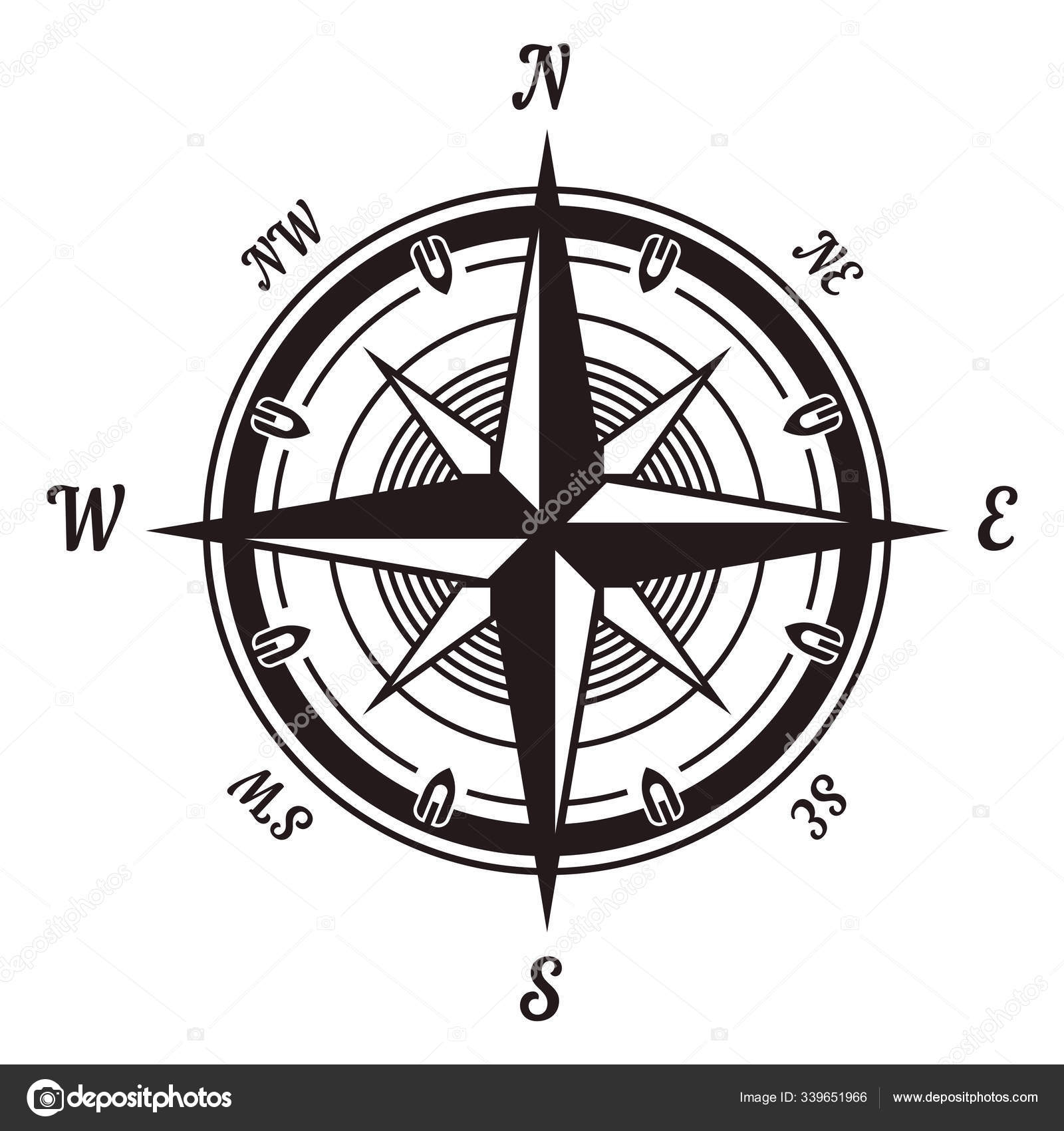 Compass Wind Rose Icon Navigational Instrument Showing