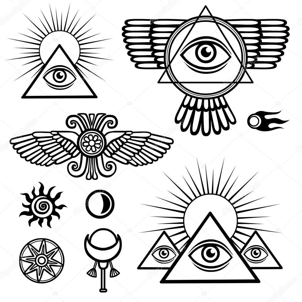 Set Esoterische Symbolen Vleugels Piramide Oog Maan