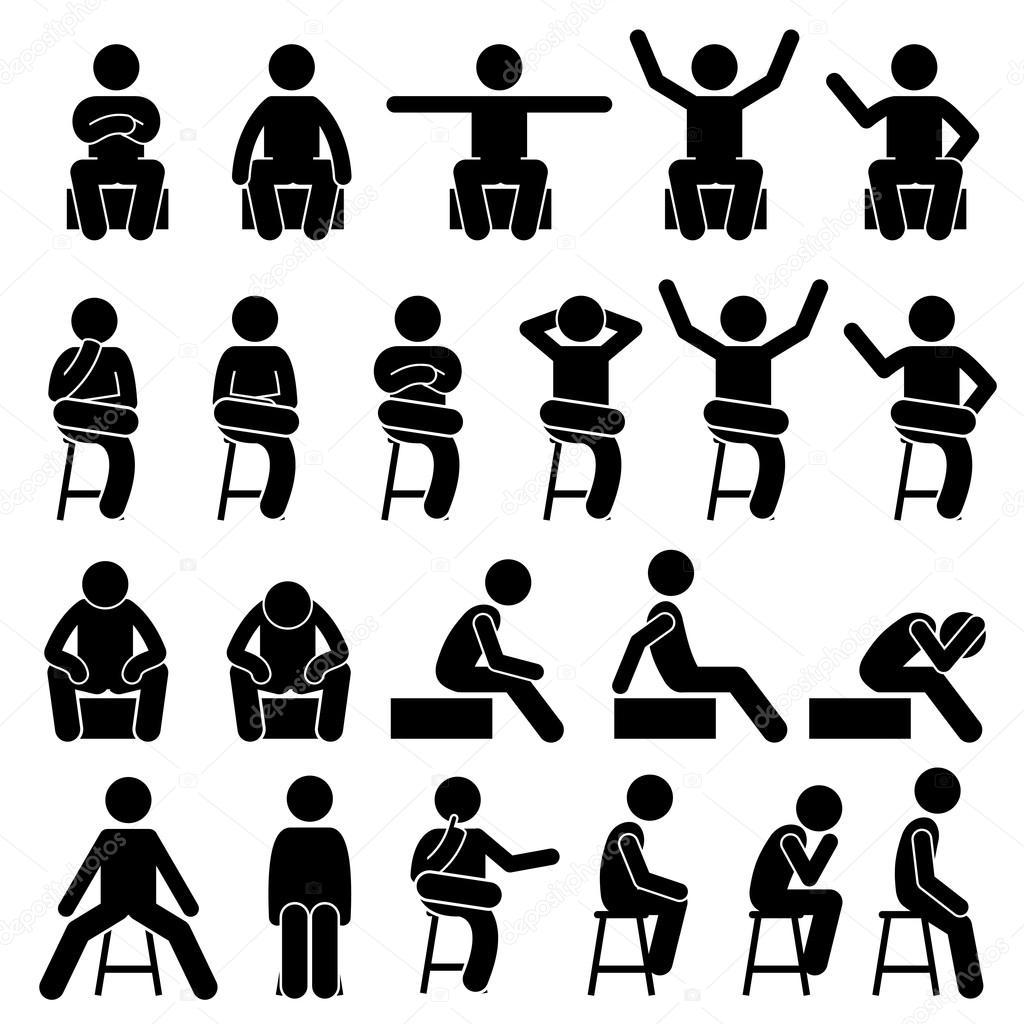 Assis Sur Une Chaise Pose Des Postures Homme Humain Personnes Stick Figure Stickman Pictogramme
