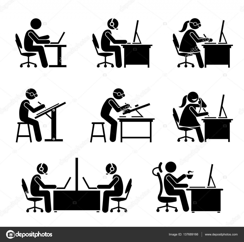 Employee Working With Computer And Laptop At Office