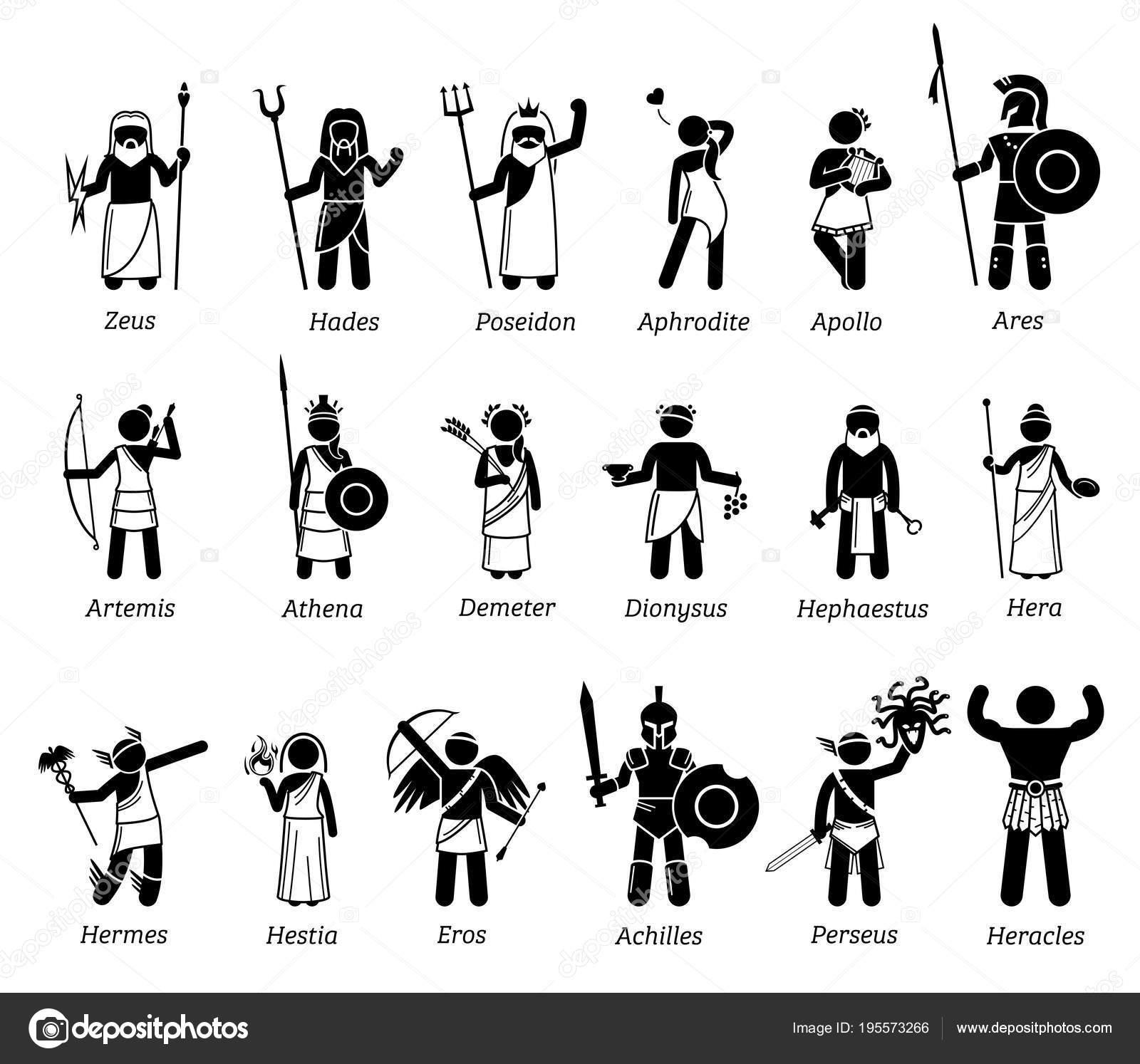 Ancient Greek Mythology Gods Goddesses Characters Icon Set