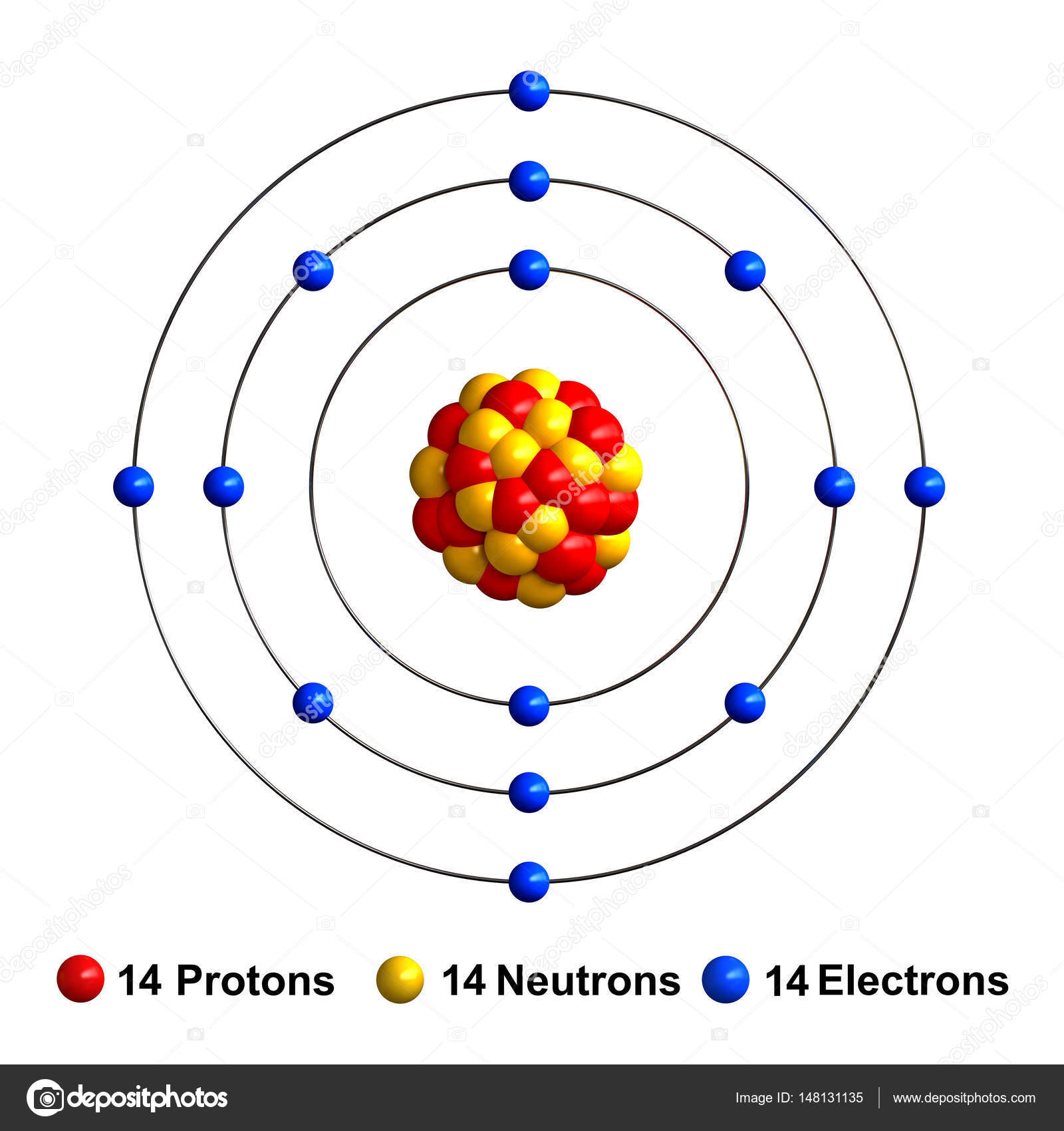 3d Render Of Atom Structure Of Silicon