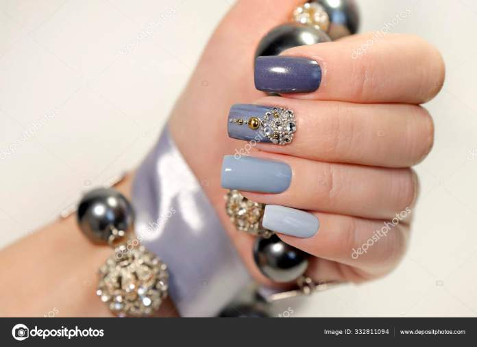 Fashionable Grey Blue Manicure Square Shaped Nails Nail Art Rhinestones Stock Photo Image By C Marigo 332811094