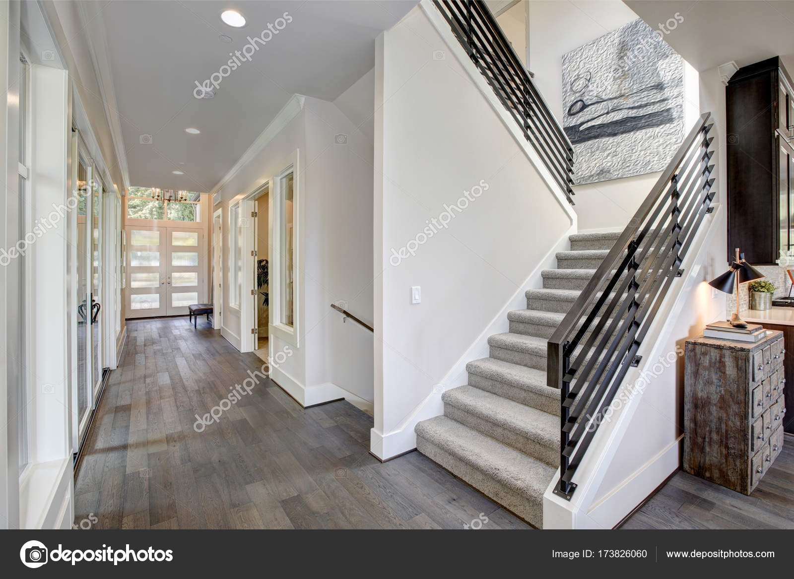 Pmages Carpet Runners On Stairs Hallway Features A Staircase | Gray Carpet On Stairs | Contemporary | Geometric | Design | Grey Pattern | Farmhouse