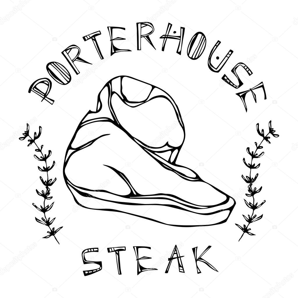 Porterhouse Steak Hov Zi Ez S Napisy V Rame Ku S Byliny