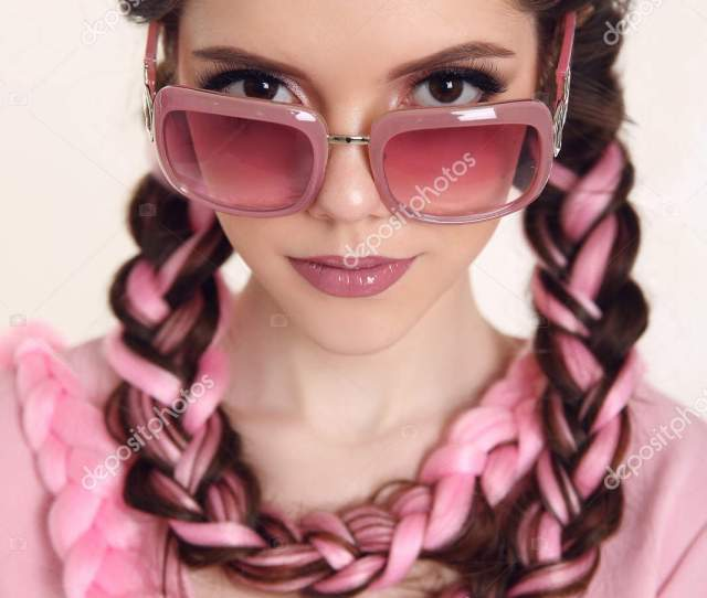 Brunette Teen Girl With Two French Braids From Pink Kanekalon F Stock Photo