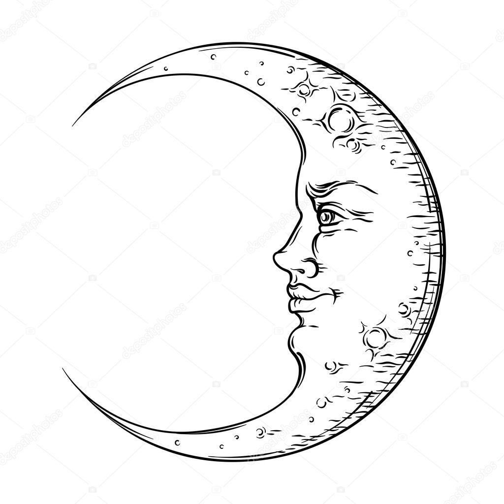 Antique Style Hand Drawn Art Crescent Moon Boho Chic