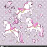 Cute Horses And Stars Set Hand Drawn Design For Kids In Pastel Colors Vector Illustration Stock Vector C Croisy 187228428